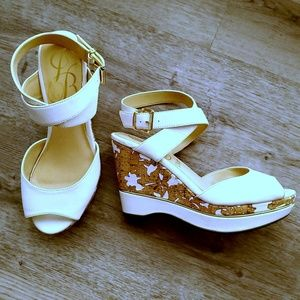 J Renee White Wedges Ankle Strap Size 8W